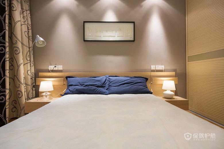 80平简约美式二居室主卧背景墙装修效果图