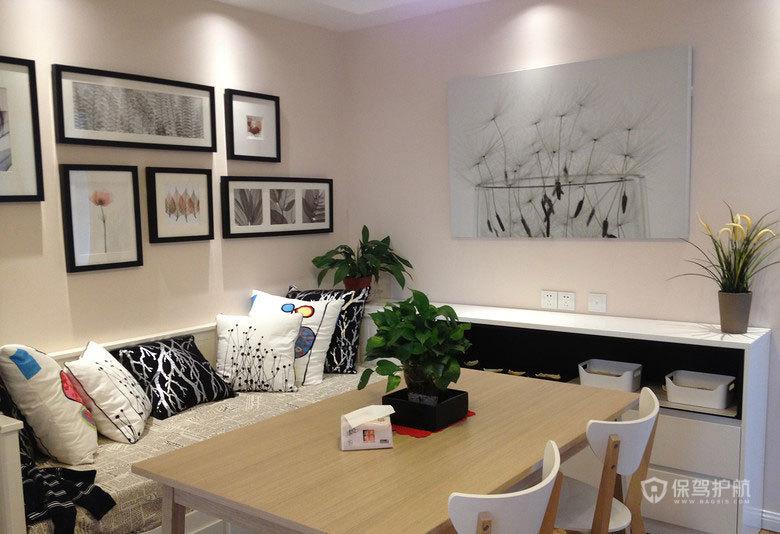 75平二室一厅宜家风餐厅背景墙装修效果图