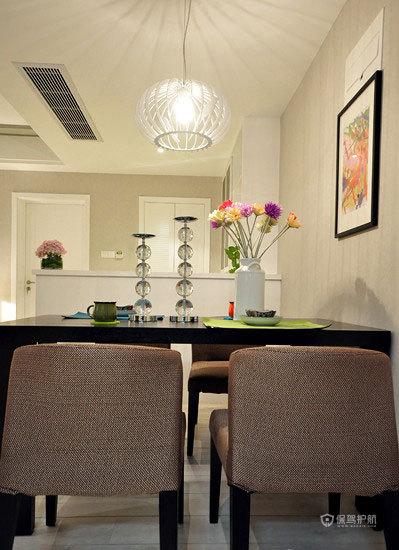 简约现代风格两室一厅50平米餐、客厅装修效果图