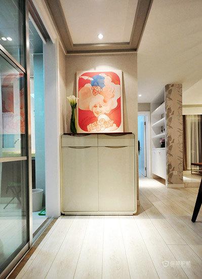 后现代风格四室一厅40平米客厅玻璃推拉门装修效果图