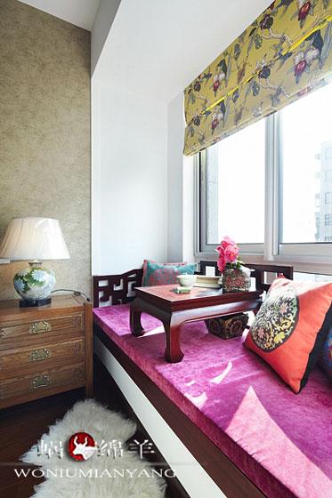 130平中式三居室卧室飘窗装修效果图…