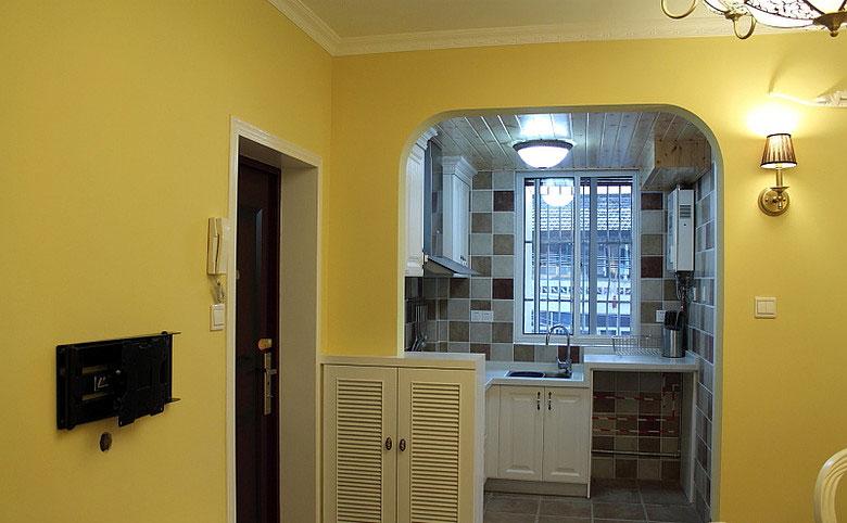 摩洛哥风格小户型三室一厅走廊柠檬黄…