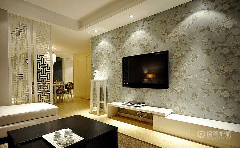 混搭中式二居室客厅电视背景墙装修效果图