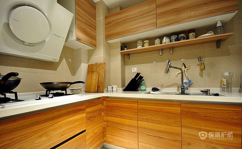 混搭中式二居室原木纹厨房橱柜装修效果图