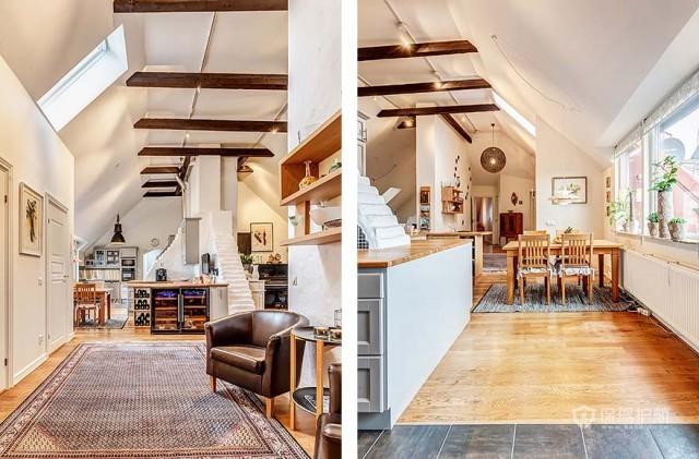 紧凑布局 北欧风165平阁楼公寓 北欧风格,大户型,阁楼,公寓装修,过道