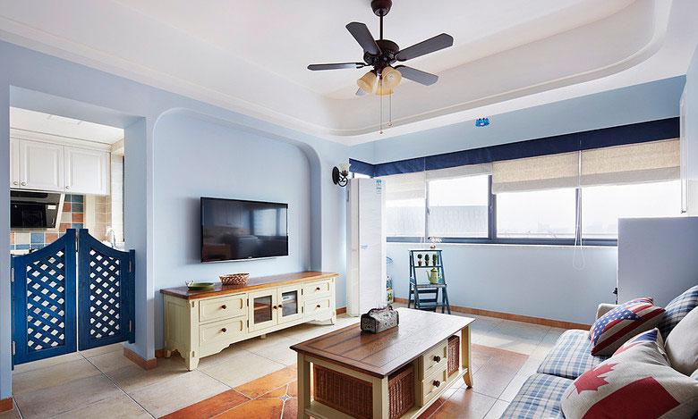 地中海风格四室一厅30平客厅特色装修…