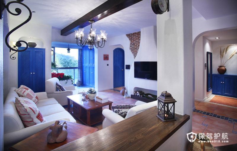 蓝白浪漫大三居 麒麟山庄地中海婚房 地中海风格,富裕型装修,三居室装修,婚房装修,客厅吊顶