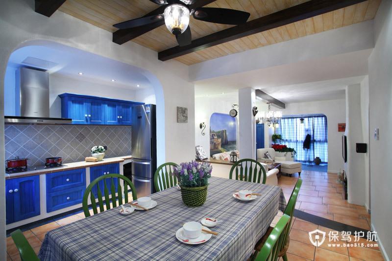 蓝白浪漫大三居 麒麟山庄地中海婚房 地中海风格,富裕型装修,三居室装修,婚房装修,餐厅,餐桌