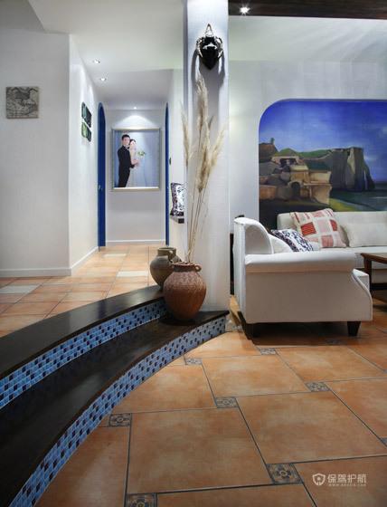蓝白浪漫大三居 麒麟山庄地中海婚房 地中海风格,富裕型装修,三居室装修,婚房装修,