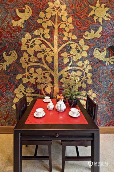 招商金山谷别墅 奢华东南亚风情 东南亚风格,别墅装修,豪华型装修,餐厅,餐厅背景墙,餐桌
