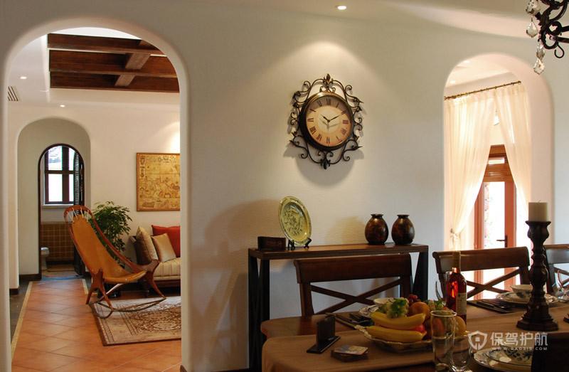 40平米美式风格别墅客厅隔断墙装修设计效果图