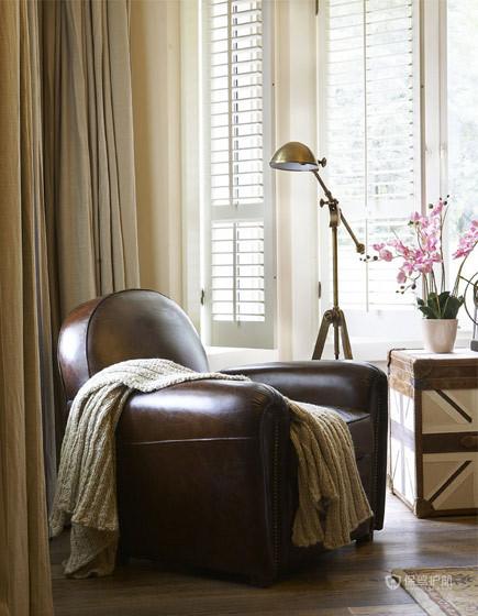现代欧式风格三室两厅40平米客厅真皮沙发软装效果图