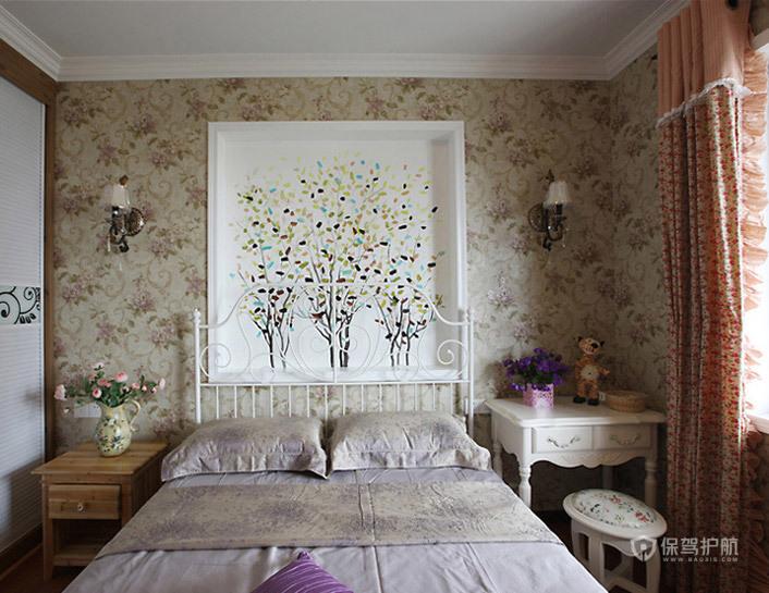 田园风四居室卧室背景墙装修效果图