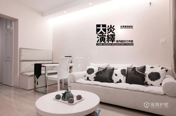 北欧风白色系一居室客厅沙发装修效果图
