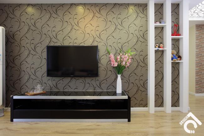 混搭风格三室一厅40平客厅电视背景墙…