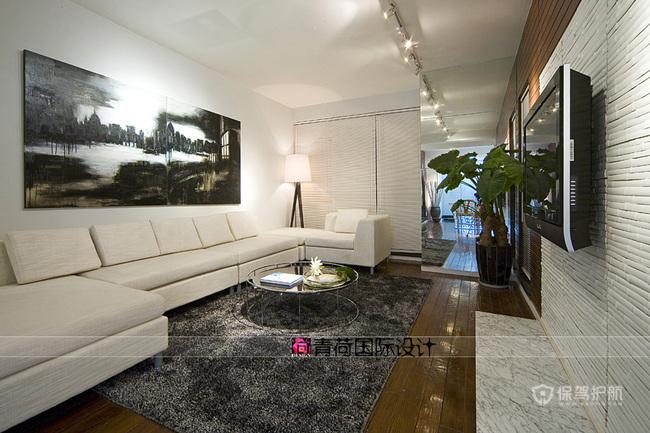 后现代简约风格两室一厅公寓30平客厅板材墙面装修效果图