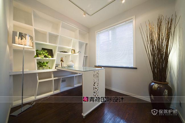 混搭风格三室一厅10平米书房置物架软装效果图