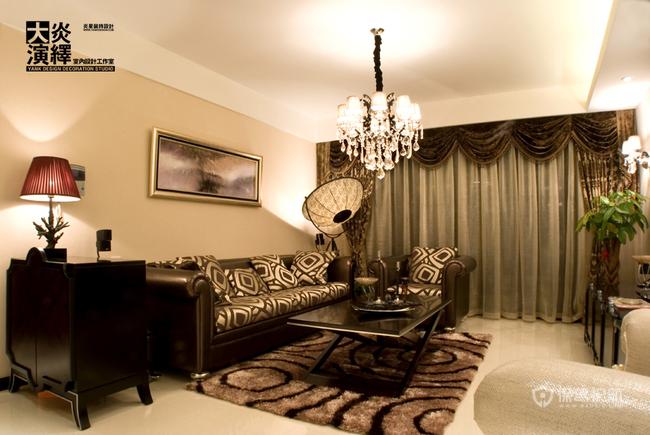 古典风格三室两厅40平米客厅丝绒窗帘软装效果图