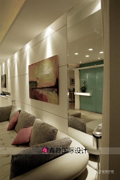 简约风格美容院走廊等候区沙发软装效果图