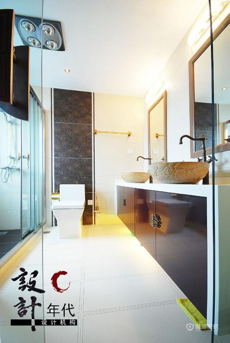 中式风格别墅卫生间浴室柜软装效果图