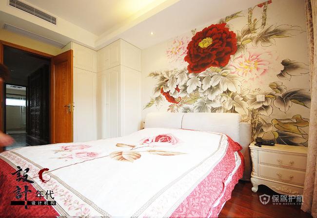 两室一厅中式卧室背景墙墙绘效果图