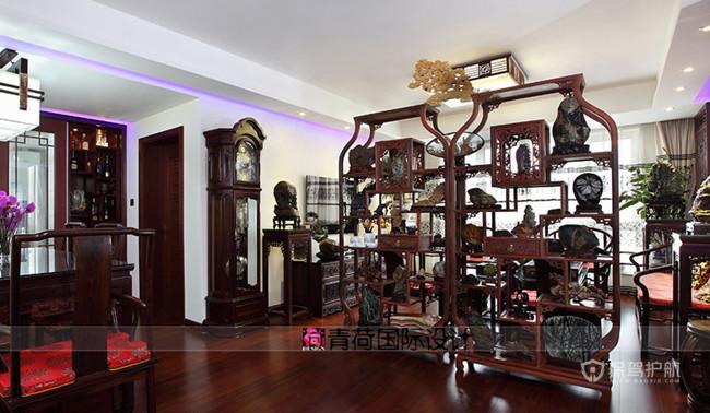 新中式风格三室两厅50平米客厅实木家具软装效果图