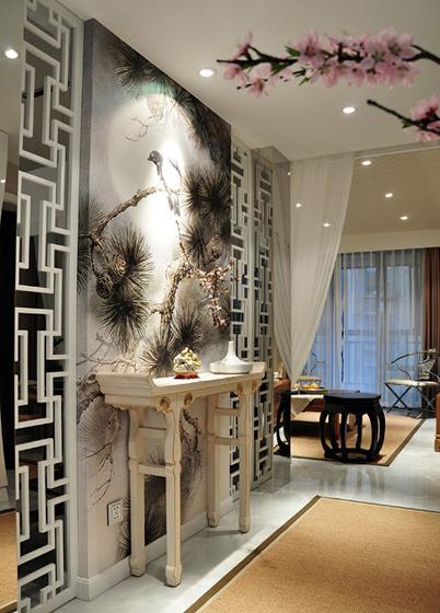 中式风格三室两厅玄关山水背景墙效果…