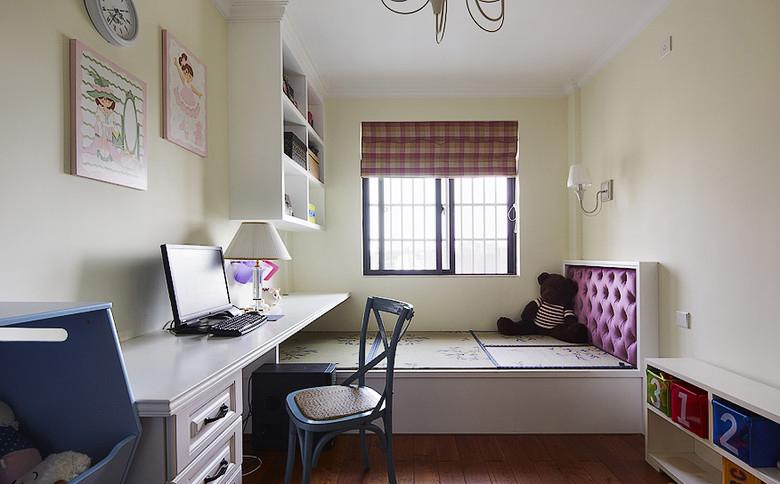 134平美式乡村三室两厅书房榻榻米装…