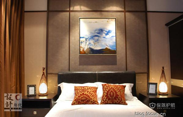 港式中国风大气三居室卧室背景墙装修效果图