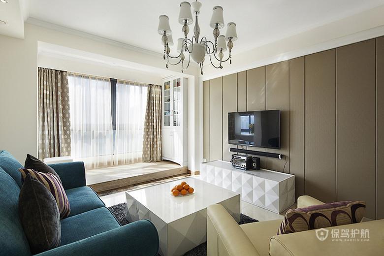 素雅中的一抹蓝 82平现代简欧两居室