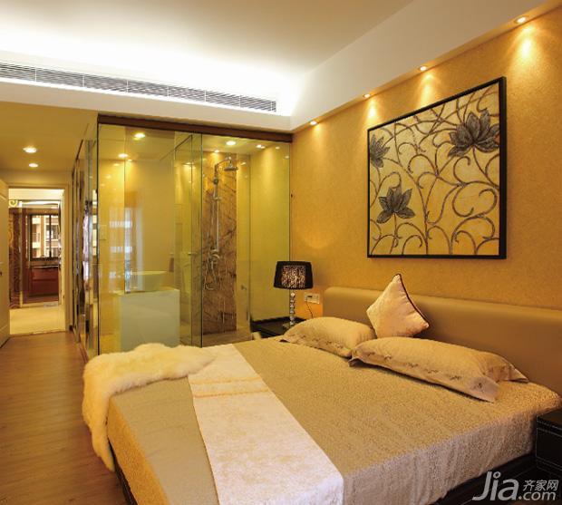 现代风格三室两厅卧室背景墙挂画效果…