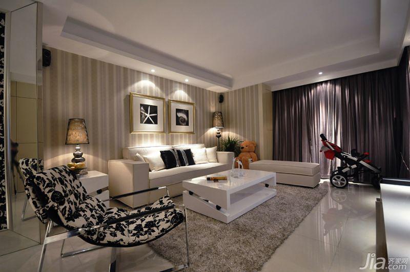简约大方的客厅,沙发背景墙这款墙纸经济又好看,我们都很满意。
