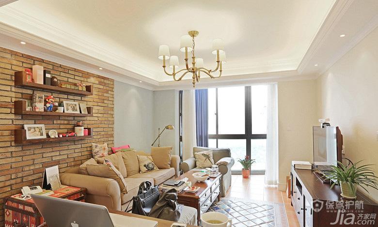 美式混搭风二居室客厅电视背景墙装修效果图