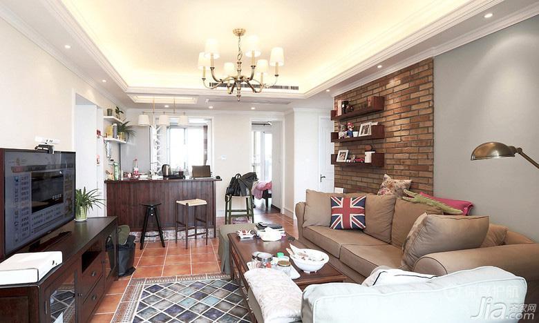 混搭风二居室客厅沙发背景墙装修效果图