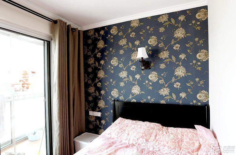 美式混搭风二居室次卧壁纸装修效果图