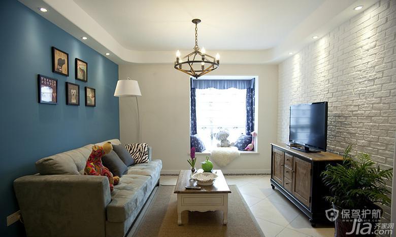 80平蓝色地中海二居室客厅背景墙装修效果图