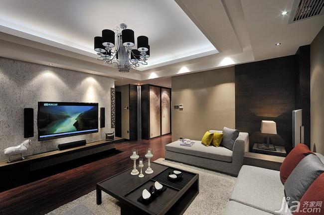 新中式四房客厅电视背景墙装修效果图…