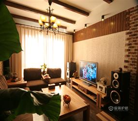 285㎡别墅东南亚风格客厅沙发背景墙装修图片