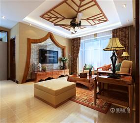 东南亚风格客厅沙发背景墙装修效果图