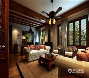 108㎡三居室东南亚风格儿童房吊顶装修效果图