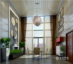 170㎡大户型东南亚风格休闲区吊顶装修图片