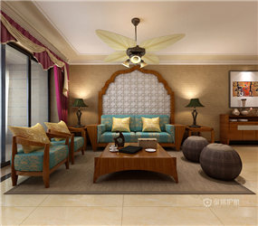123㎡三居室东南亚风格客厅沙发背景墙装修效果图