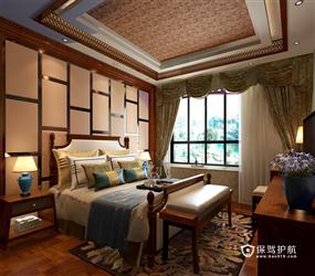 168㎡三居室东南亚风格卧室背景墙吊顶装修效果图