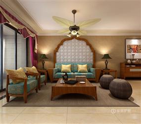 123㎡三居室东南亚风格卧室床头背景墙装修效果图