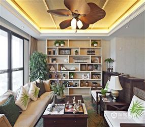 160m²三居室东南亚风格客厅背景墙装修图片