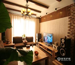 285㎡别墅东南亚风格客厅电视背景墙装修图片
