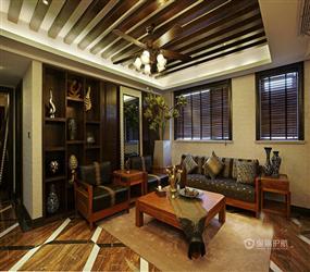 123㎡三居室东南亚风格卧室背景墙装修图片