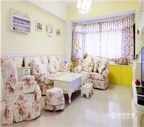 90㎡二居室田园风格厨房瓷砖背景墙装修图片