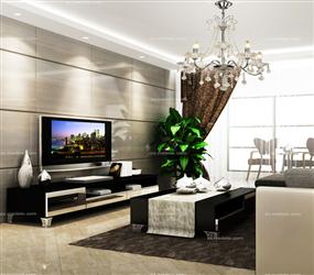 现代风格客厅沙发背景效果墙展示