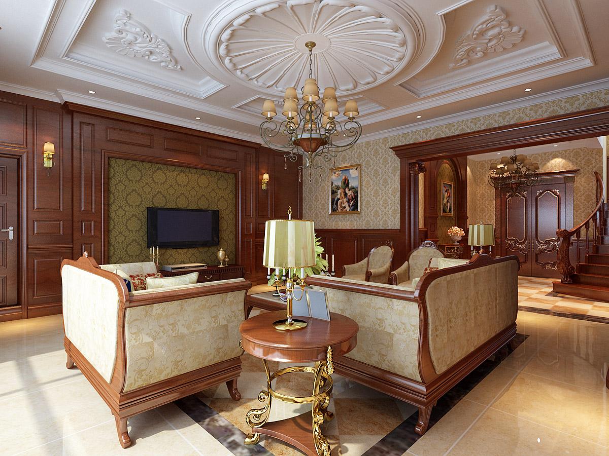 《晋级装饰》绿地棋盘山庄260平别墅新古典美式风格设计风尚